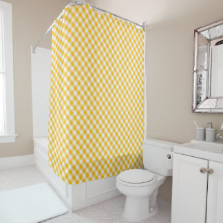 Yellow Gingham Check Pattern Shower Curtain