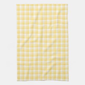 Yellow Gingham Check Pattern. Tea Towel