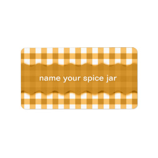 Yellow Gingham Checkered Design Kitchen Label