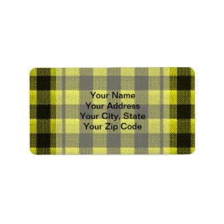 Yellow Gingham Checkered Pattern Burlap Look Address Label