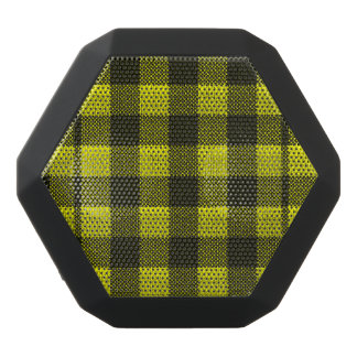 Yellow Gingham Checkered Pattern Burlap Look Black Bluetooth Speaker