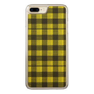 Yellow Gingham Checkered Pattern Burlap Look Carved iPhone 8 Plus/7 Plus Case