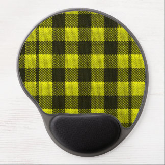 Yellow Gingham Checkered Pattern Burlap Look Gel Mouse Mat