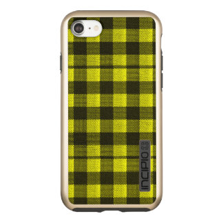 Yellow Gingham Checkered Pattern Burlap Look Incipio DualPro Shine iPhone 8/7 Case
