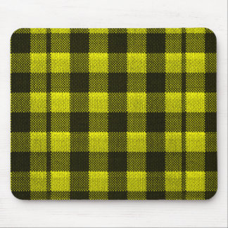 Yellow Gingham Checkered Pattern Burlap Look Mouse Mat