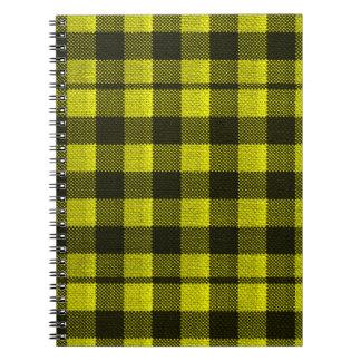 Yellow Gingham Checkered Pattern Burlap Look Notebooks