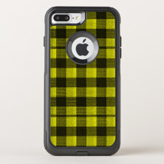 Yellow Gingham Checkered Pattern Burlap Look OtterBox Commuter iPhone 8 Plus/7 Plus Case