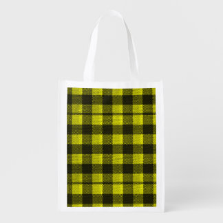 Yellow Gingham Checkered Pattern Burlap Look Reusable Grocery Bag