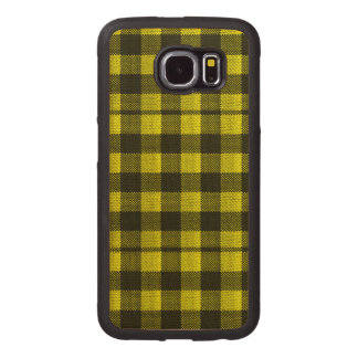 Yellow Gingham Checkered Pattern Burlap Look Wood Phone Case