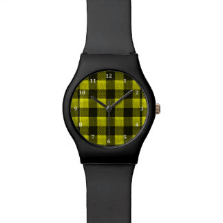 Yellow Gingham Checkered Pattern Burlap Look Wristwatches