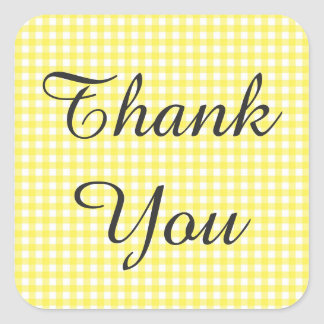 Yellow Gingham Checkered Thank You Sticker