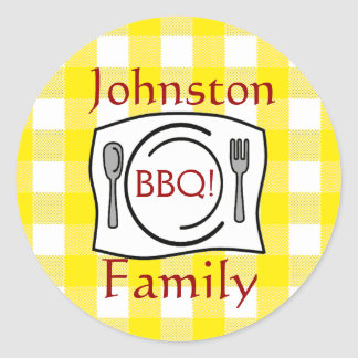 Yellow Gingham Family Reunion BBQ Classic Round Sticker