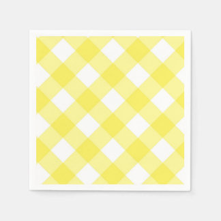Yellow Gingham Paper Napkins