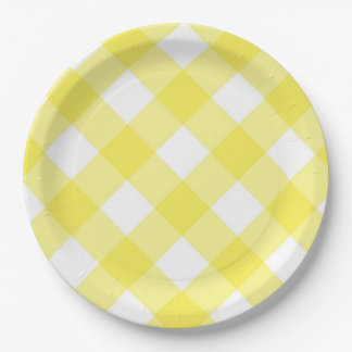 Yellow Gingham Paper Plate
