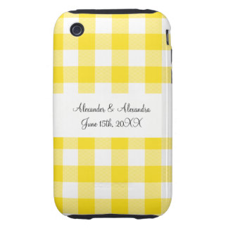 Yellow gingham pattern wedding favors iPhone 3 tough cover