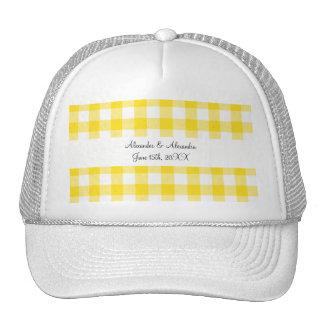 Yellow gingham pattern wedding favors trucker hats