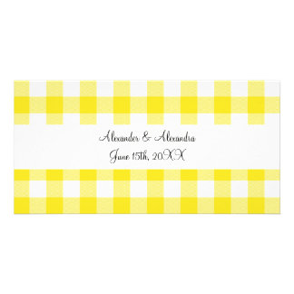 Yellow gingham pattern wedding favors personalized photo card