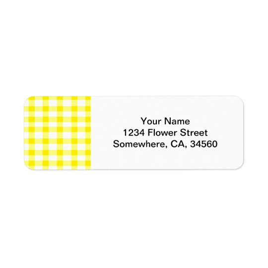 Yellow Gingham Return Address Label