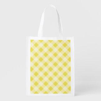 Yellow Gingham Reusable Grocery Bag