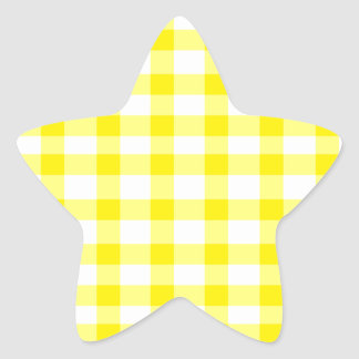 Yellow Gingham Star Sticker