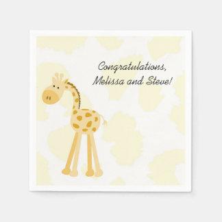 Yellow Giraffe Baby Shower Paper Napkins