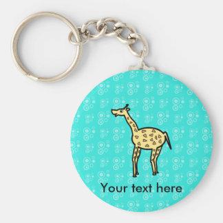 Yellow giraffe on turquoise basic round button key ring