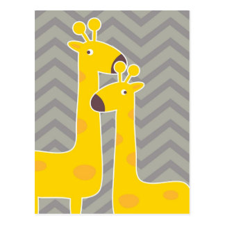 Yellow giraffe on zigzag chevron - Grey Postcard