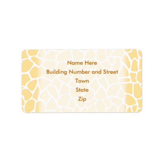 Yellow Giraffe Pattern Animal Print Design. Address Label