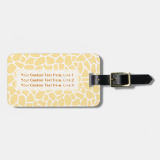 Yellow Giraffe Pattern Animal Print Design. Luggage Tag