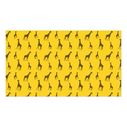 Yellow giraffe pattern business card template