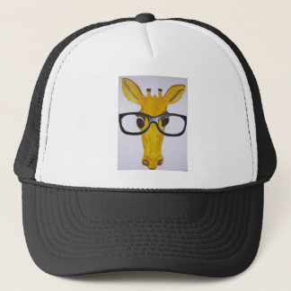 Yellow Giraffe Wearing Black Glasses Trucker Hat