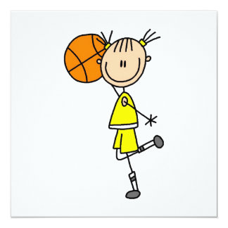 Yellow Girl Basketball Player T-shirts and Gifts 13 Cm X 13 Cm Square Invitation Card