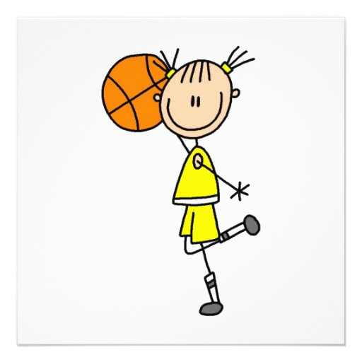 Yellow Girl Basketball Player T-shirts and Gifts Invitation