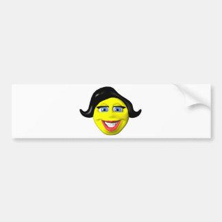 Yellow girl face smiley car bumper sticker