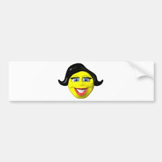 Yellow girl face smiley bumper stickers