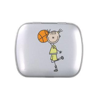 Yellow Girl Stick Figure Basketball  Candy Tins