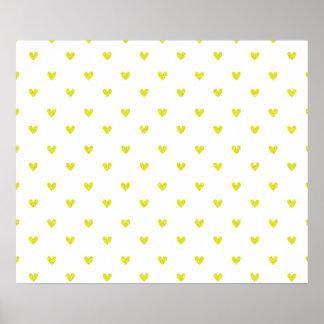 Yellow Glitter Hearts Pattern Print