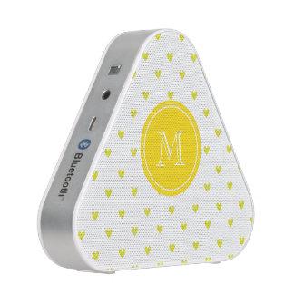 Yellow Glitter Hearts with Monogram