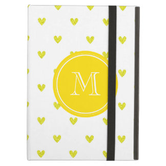 Yellow Glitter Hearts with Monogram Cover For iPad Air