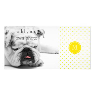 Yellow Glitter Hearts with Monogram Customised Photo Card