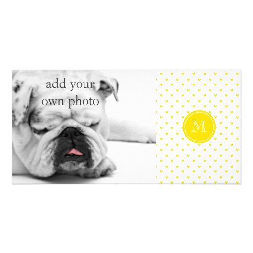 Yellow Glitter Hearts with Monogram Photo Card Template
