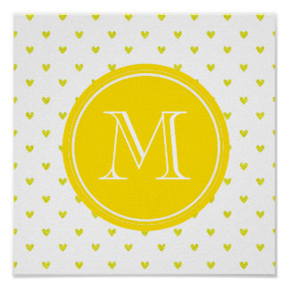 Yellow Glitter Hearts with Monogram Posters