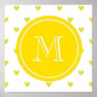 Yellow Glitter Hearts with Monogram Print