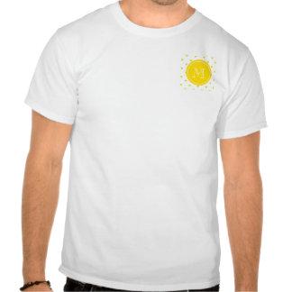 Yellow Glitter Hearts with Monogram T-shirts