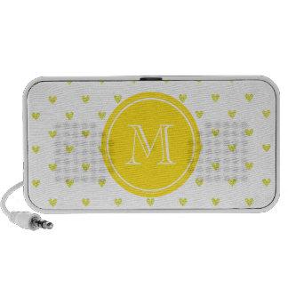Yellow Glitter Hearts with MonogramCute Personaliz Speaker