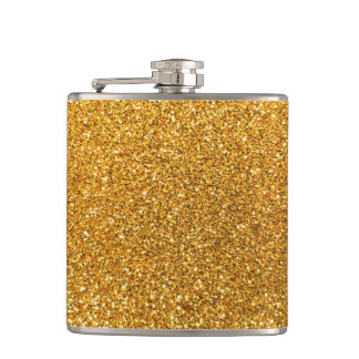 Yellow glitter hip flask