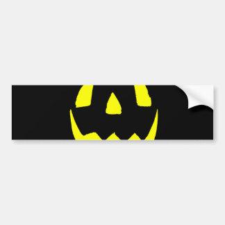 Yellow Glow Face Happy Halloween Bumper Sticker