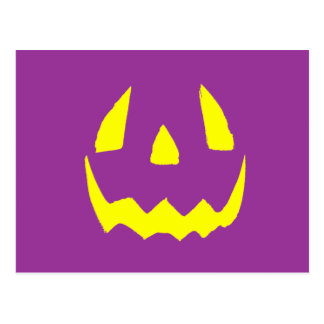 Yellow Glow Face Happy Halloween Postcard