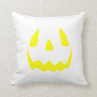 Yellow Glow Face Happy Halloween Throw Cushion
