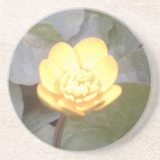 yellow glow flower coaster
